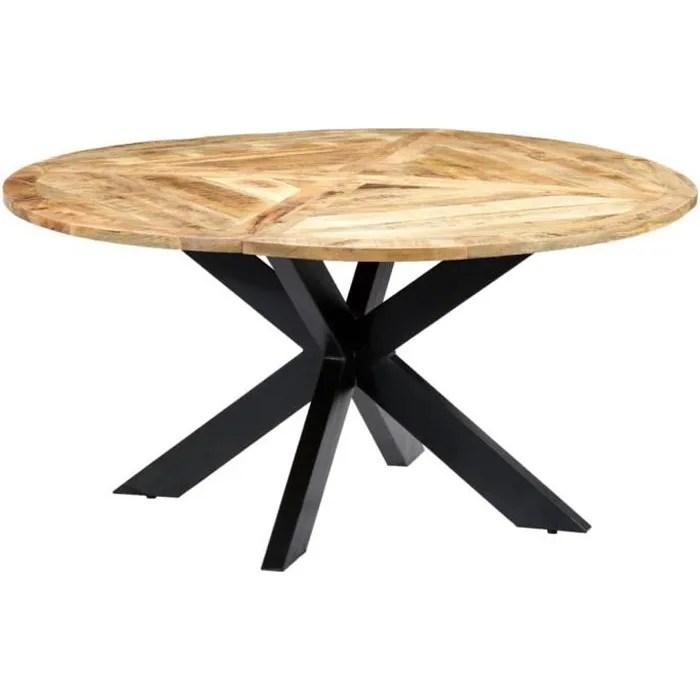 vidaxl table de salle a manger rond 150x76 cm bois de manguier massif