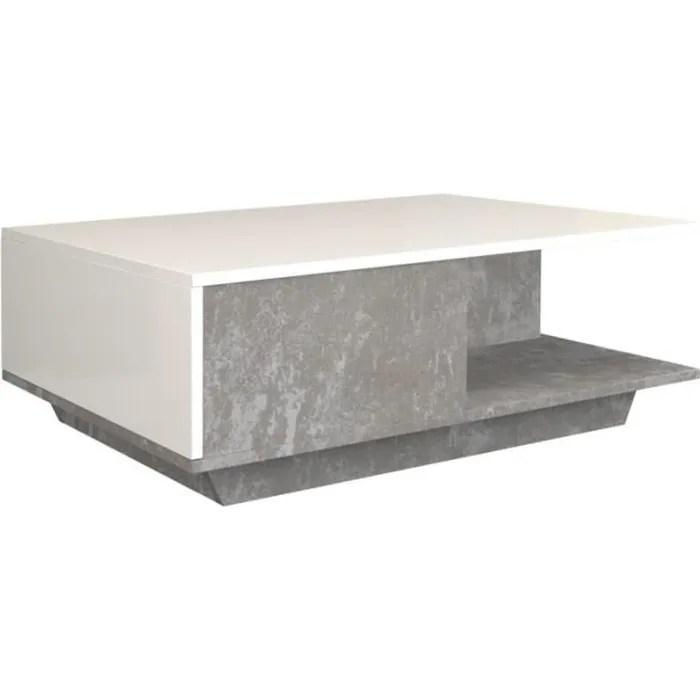 table basse blanc et beton