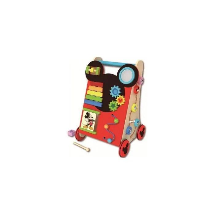 chariot de marche en bois multi activites mickey jouet d eveil disney baby trotteur pousseur bebe