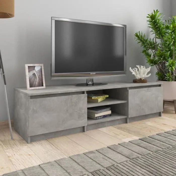 bel meuble tv gris beton 140x40x35 5 cm agglomere