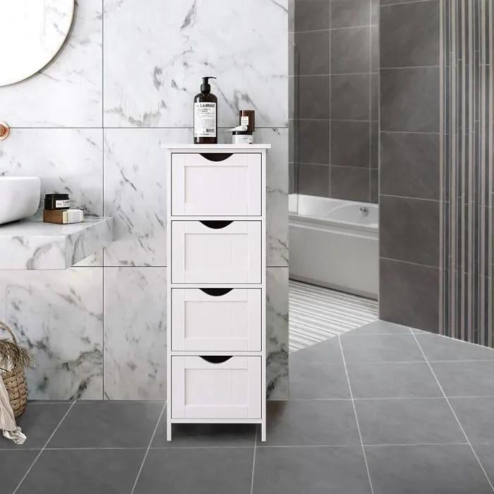 Commode Meuble Bas De Rangement De Salle De Bain Armoire De Toilette Sur Pied Avec 4 Tiroirs En Mdf Blanc Achat Vente Meuble Bas Commode Sdb