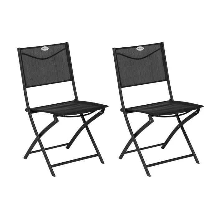 lot de 2 chaises de jardin pliante metal modula gr