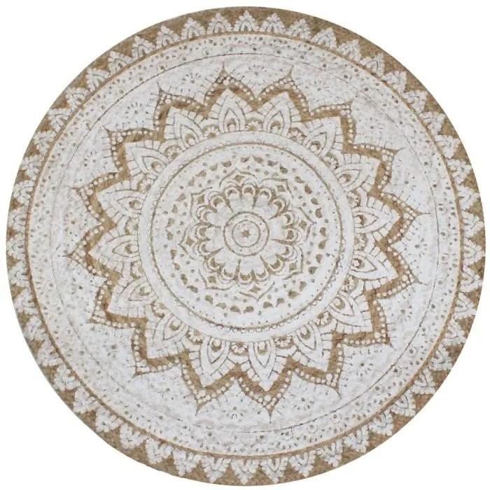 tapis jute tresse imprime 150 cm rond