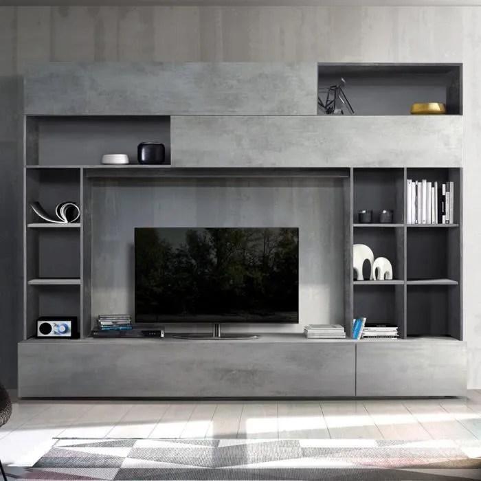 meuble tv mural design gris effet beton perdita gr