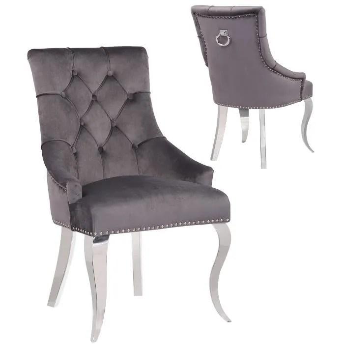 lot de 2 chaises de salle a manger design capitonne revetement en velour gris fonce et pietement baroque en acier inoxydable