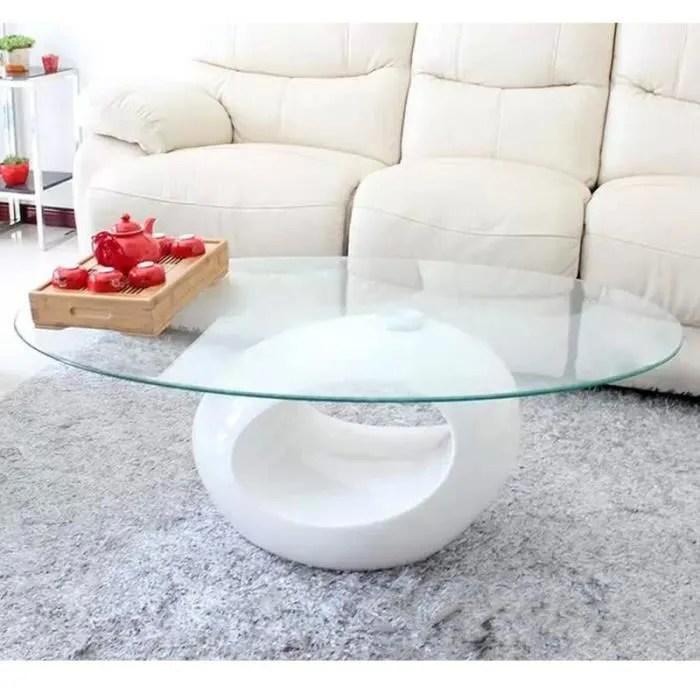 table basse blanche design en verre ovus