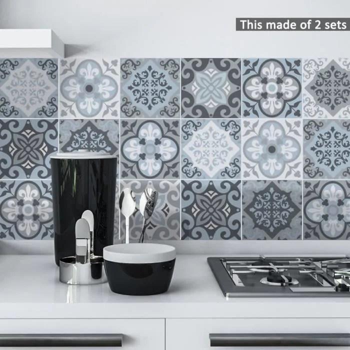 sticker carrelage cuisine bleu gris salle bain toi