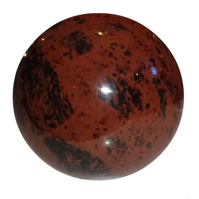 sphere obsidienne acajou env 6 cm