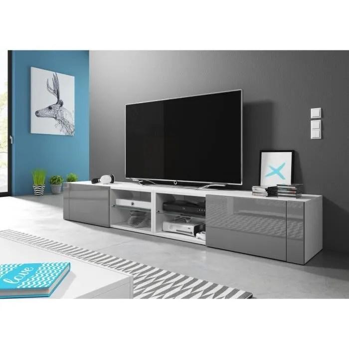 vivaldi meuble tv hit 2 double 200 cm blanc