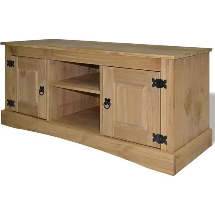 meuble tv rustique avec 2 armoires et 2 compartiments de rangement 120 x 40 x 52 cm en bois de pin massif