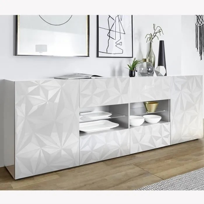 enfilade design 2 portes 4 tiroirs blanc laque avec serigraphies paolo blanc l 241 x p 42 x h 84 cm