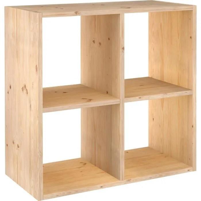 cube de rangement 4 cases pin masif 70 8 x 70 8 x 33 cm bois brut