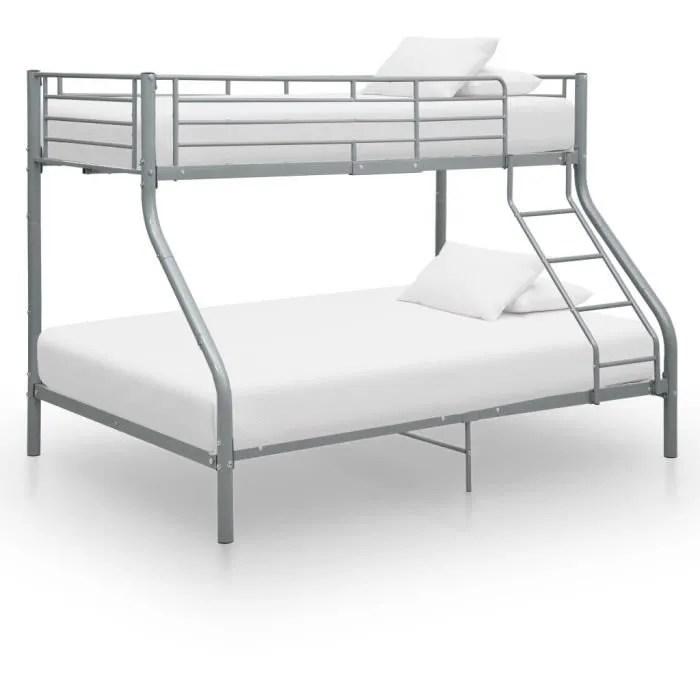 cadre de lit superpose en metal 140 200 cm 90 200 cm design moderne gris