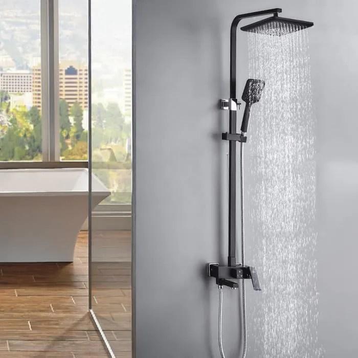 auralum colonne de douche noir avec robinet 3 fon