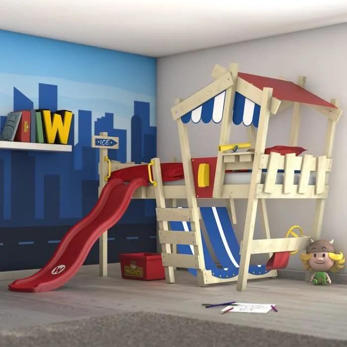 wickey lit enfant lit mezzanine crazy hutty avec toboggan rouge lit maison 90 x 200 cm