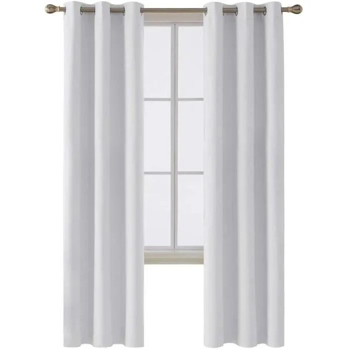lot de 2 rideau thermique isolant anti froid rideaux occultants chambre blanc pale gris 107x229cm rideaux salon design moderne