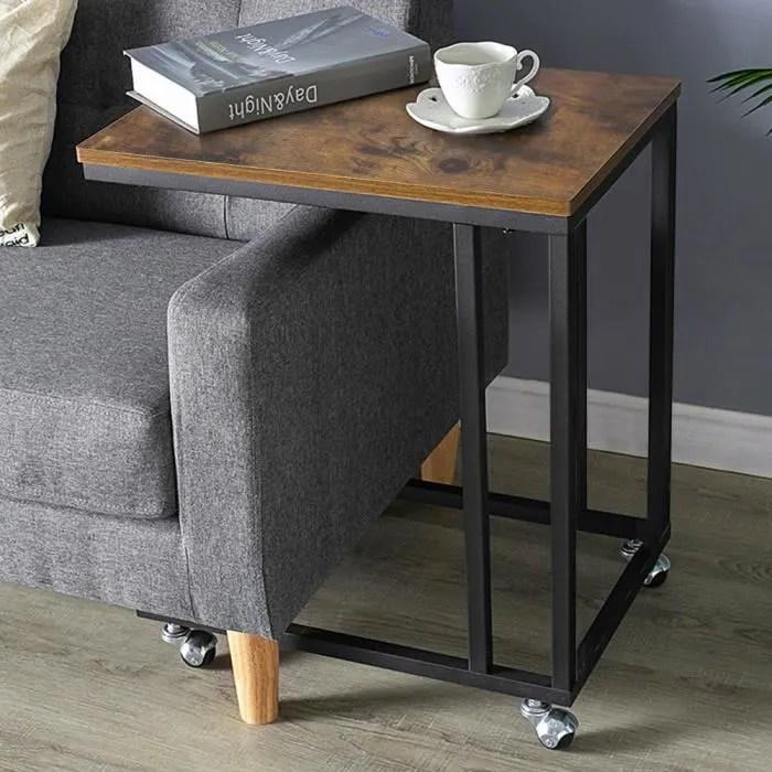 table basse industrielle a roulettes bois et metal dianwaa