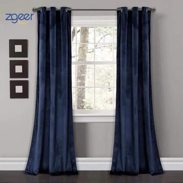 rideau de velours occultant 160 x 260 cm bleu