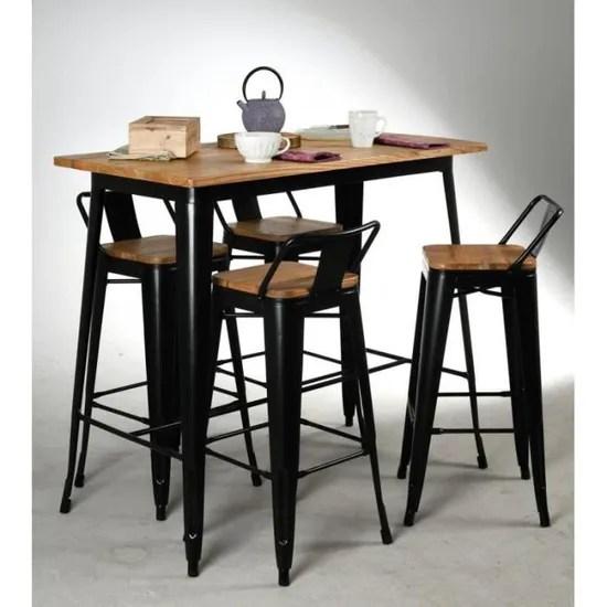 table haute industrielle en metal noir et bois