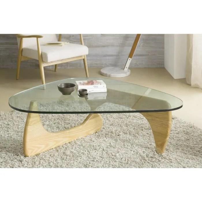 table basse en verre et bois massif