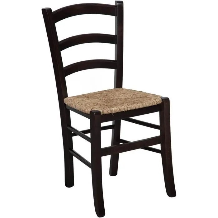 chaise en bois de hetre massif finition wenge avec assise en paille l45xpr45xh88 cm fabrique en italie