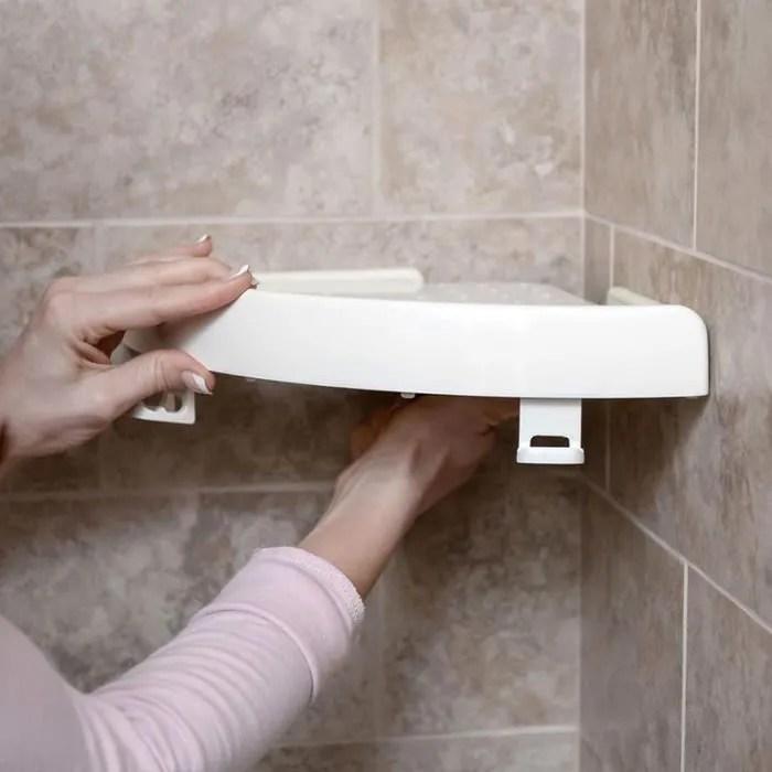 shop story etagere d angle avec bouton poussoir sans percer 24 5 x 4 5 x 24 5 cm pour salle de bain et autres