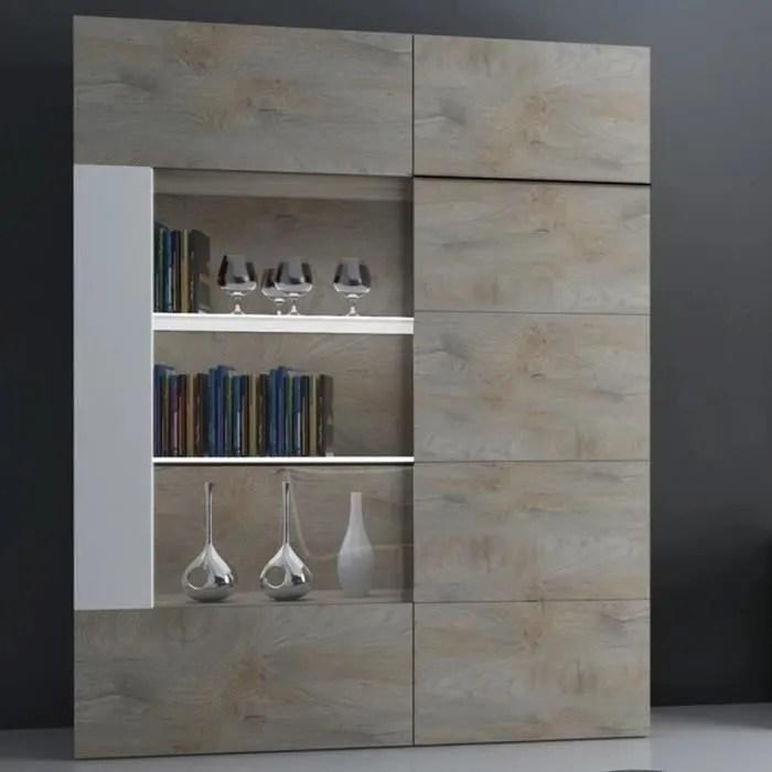 vaisselier lumineux couleur chene et blanc moderne fano marron l 136 x p 45 x h 180 cm
