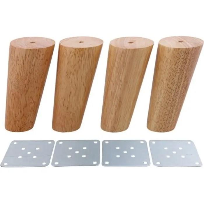 oomom lot de 4 pieds de fer de meubles en bois conique 12cm pour canape tv table basse armoire
