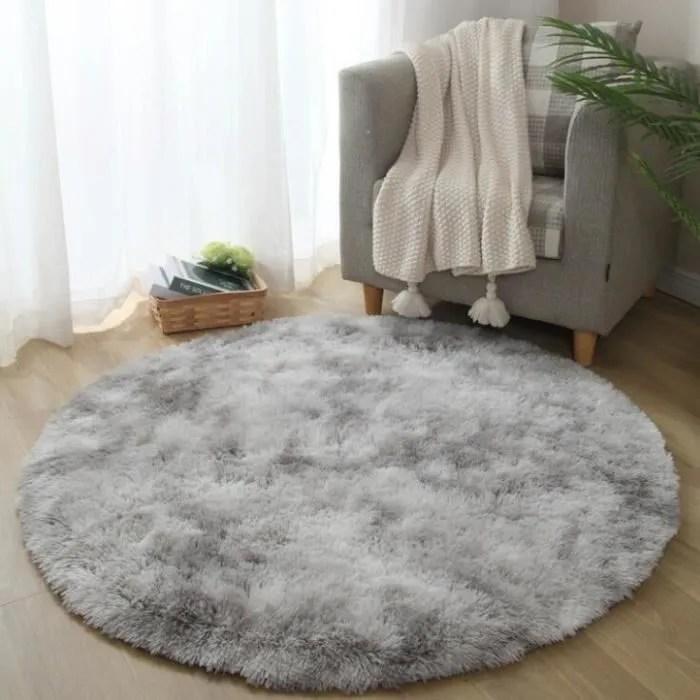 tapis rond salon tapis peluche gris 160cm tapis ch