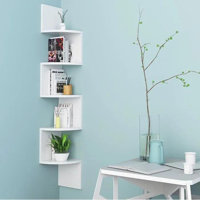 luxs etagere murale blanche etagere d angle en bois 5 etageres