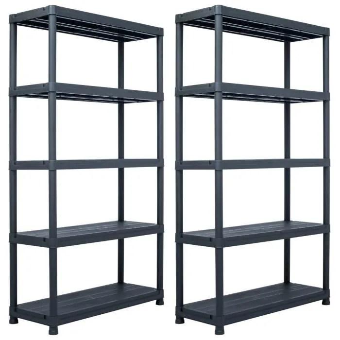 etageres de rangement pour garage etagere d atelier bibliotheque 2 pcs noir 500 kg 100x40x180 cm plastique