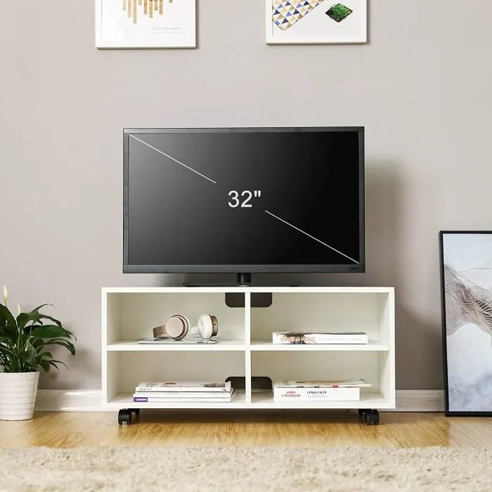 vasagle meuble tv mobile avec 4 compartiments et r