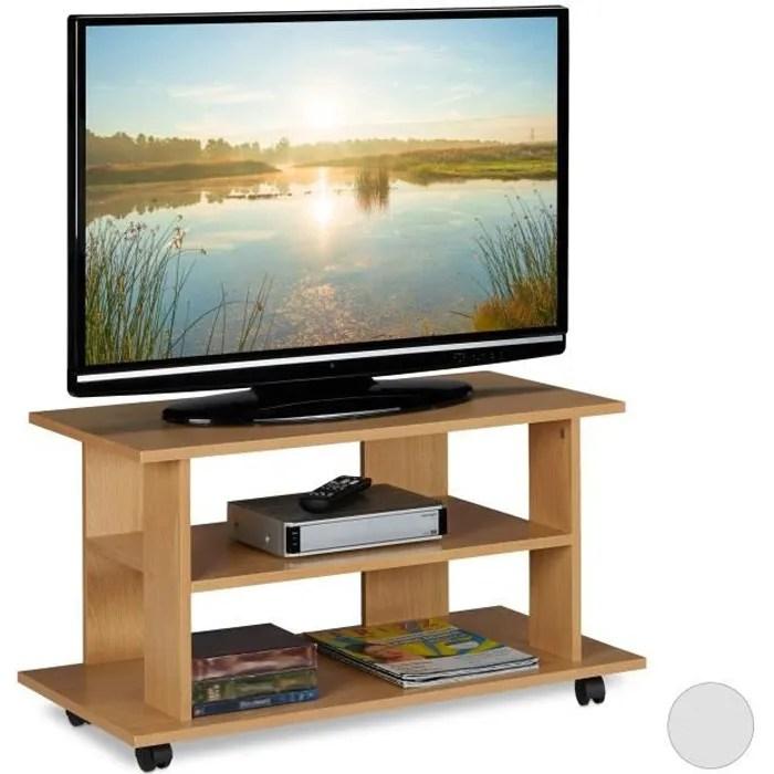 relaxdays meuble tv sur roulettes 2