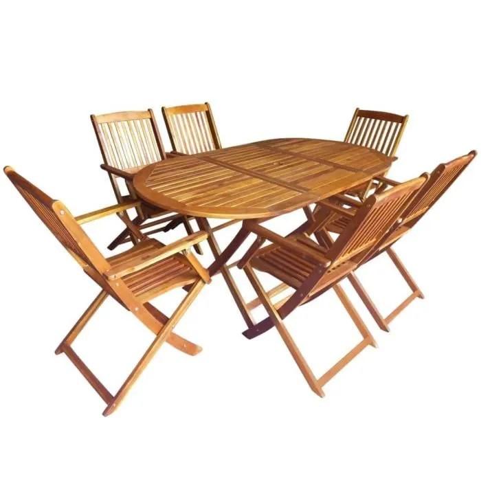 mobilier pliable de jardin ensemble repas de jardin 6 personnes table pliante et 6 fauteuils bois d acacia solide foe