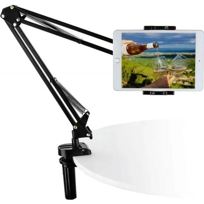 woleyi support tablette reglable metal lit bras 360 rotation support tablette pour appareils de 4 a 13 pouces pour ipad pro 2