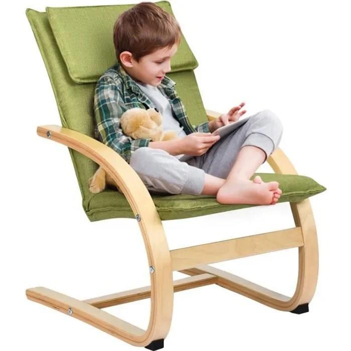 costway fauteuil a bascule pour enfants fabriquer en bois de bouleau chaise avec accoudoirs solides siege rembourre elegant vert