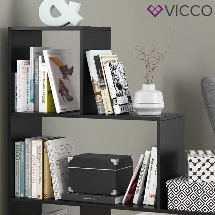 vicco etagere etoile asym a 4 compartiments espace de rangement placard noir
