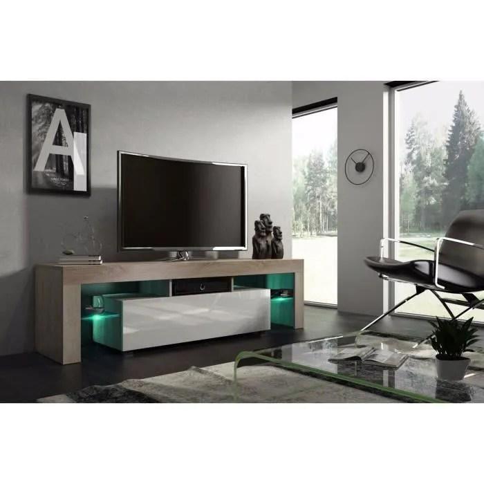 meuble tv 160 cm chene mdf et blanc laque avec led