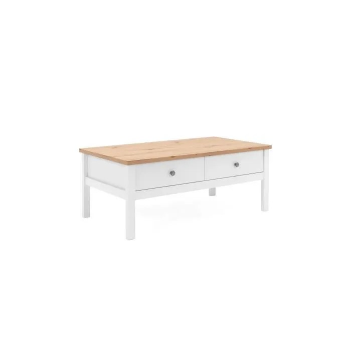 bergen table basse decor chene naturel et blanc l 100 x p 40 x h 55 cm