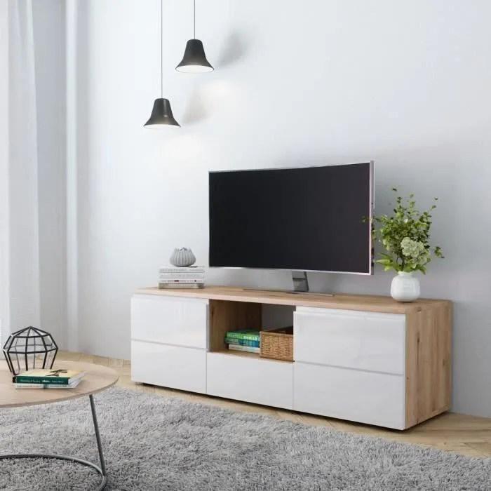 meuble tv chene blanc laque