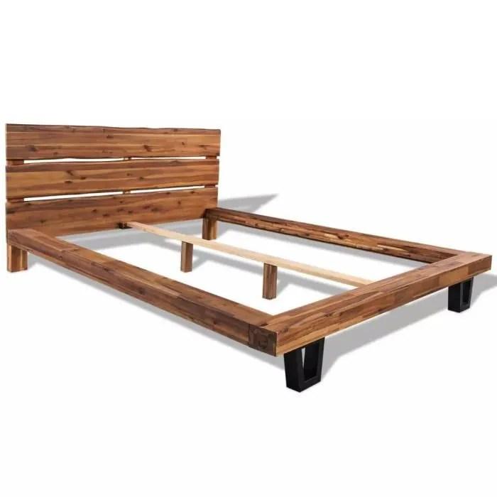 cadre de lit bois d acacia massif 140 x 200 cm