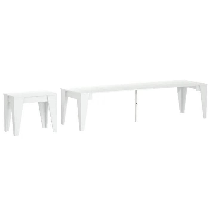 table console salle a manger extensible avec rallonges jusqu a 305cm couleur blanche dimensions fermee 90x53 6x74 6 cm de haut