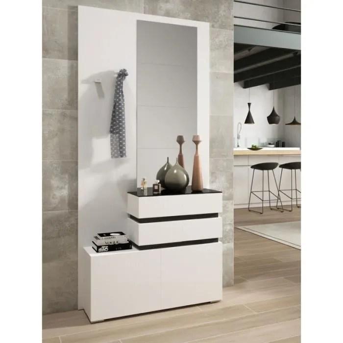 meuble d entree bois blanc bois noir miroirs vana l 96 x l 31 x h 203