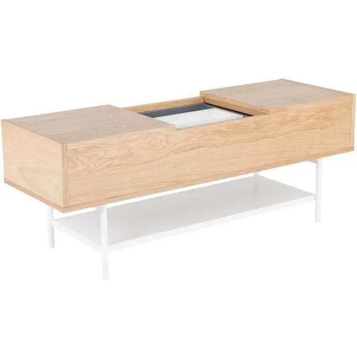 table basse plaque chene naturel et blanc laque bl