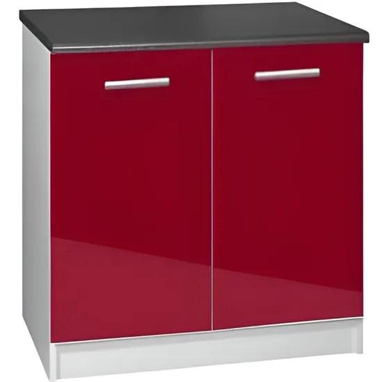 meuble cuisine bas 80 cm 2 portes tara bordeaux