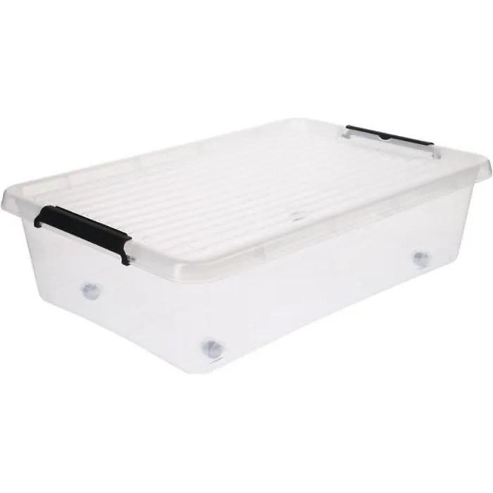 five boite de rangement dessous de lit 22l clip easy roll transparent