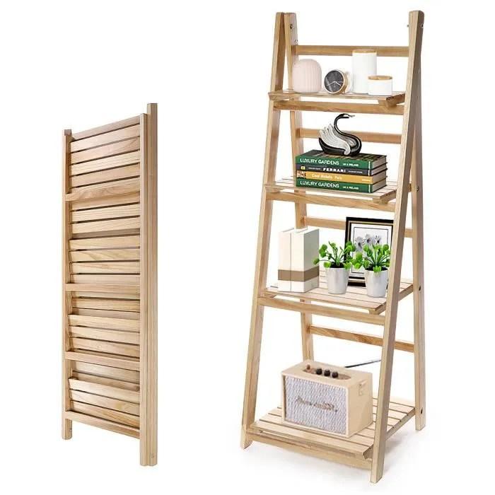meuble de rangement etagere escalier bibliotheque retro en bois pour plantes salle de bain salon 42x40x117cm