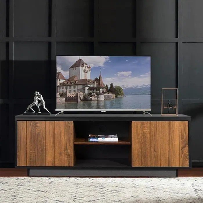 aingoo meuble tv avec 2 portes 2 niches