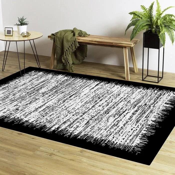 tapis moderne gris bord noir 80x150 cm