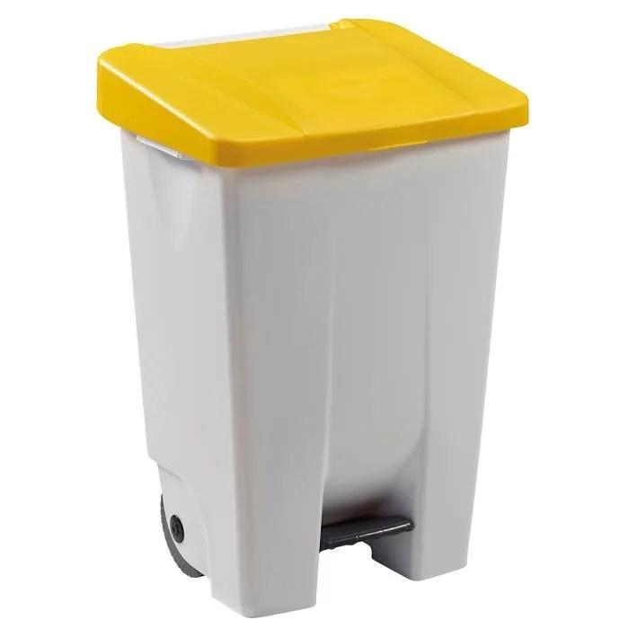 poubelle mobile a pedale 80 l jaune mobily rossignol